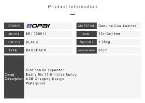 Таблица с характеристиками  Кожаный рюкзак для ноутбука 15.6 BOPAI 851-036611