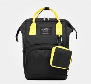 Рюкзак для мам LIVING TRAVELING SHARE CX9394 черный с желтым фото спереди