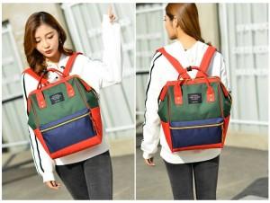 Рюкзак LIVING TRAVELING SHARE 008 сине-красно-зеленый фото4 на девушке