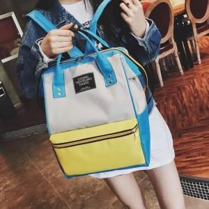 Рюкзак LIVING TRAVELING SHARE 008 бело-желто-голубой на девушке-модели фото 3