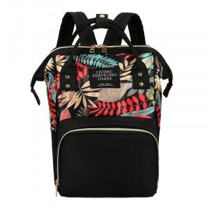 Рюкзак LIVING TRAVELING SHARE R053 черный с рисунком листва фото спереди