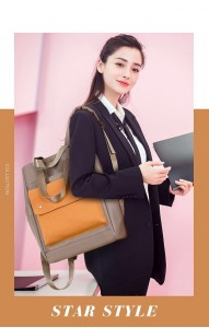 Сумка-рюкзак школьная Fashion 1190 серо-желтая на ученице