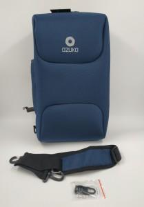 Бизнес рюкзак для мужчин OZUKO 9225 синий фото замком и ремнем